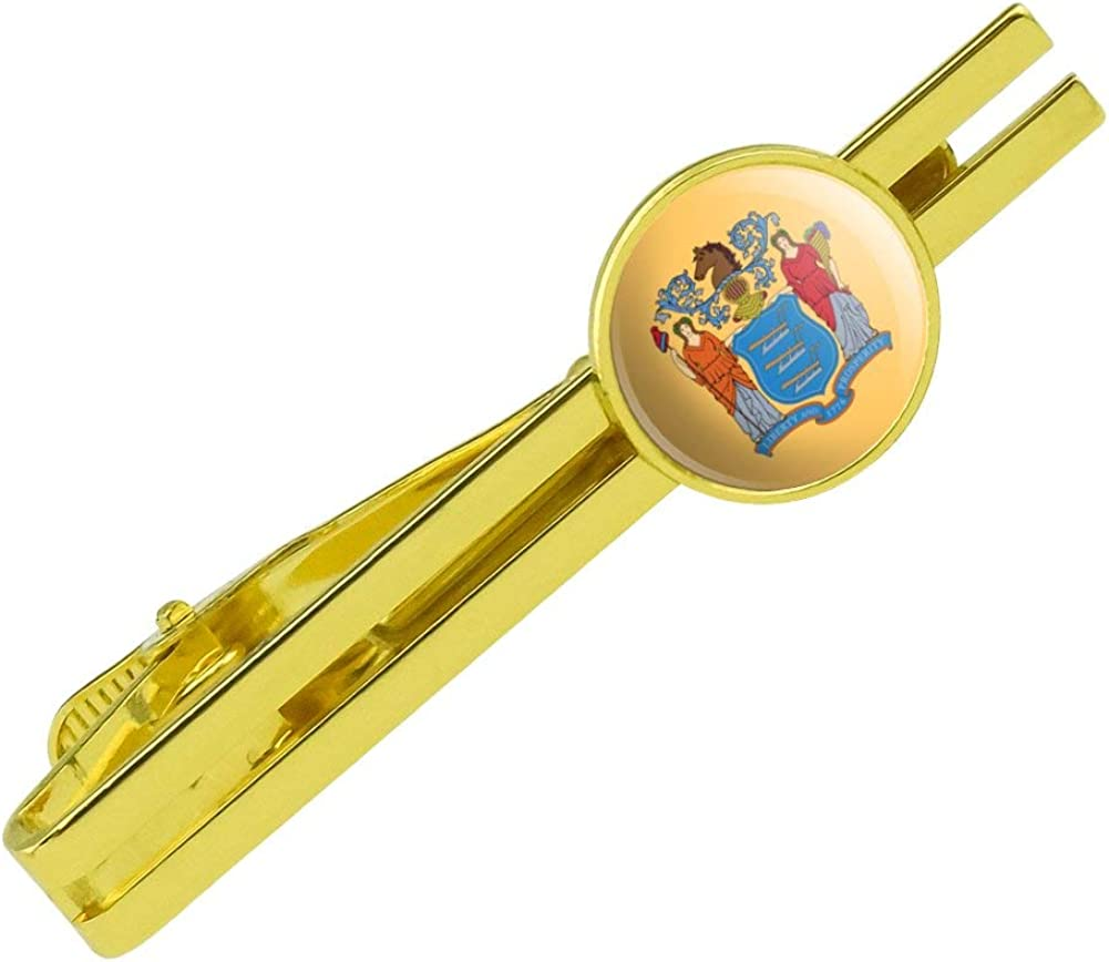 GRAPHICS & MORE New Jersey State Flag Round Tie Bar Clip Clasp Tack Gold Color Plated