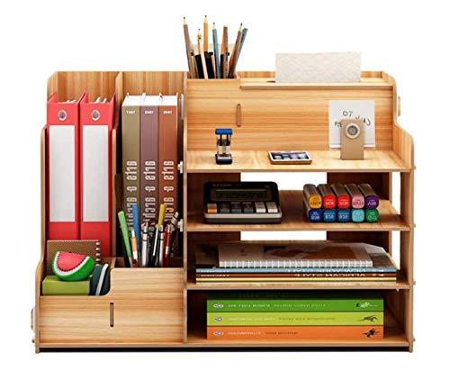 大容量 オフィス収納 机上収納ボックス A4 対応 ペン入れ 新聞/雑誌/書類/文具用品 木製 事務用 デスク整理整頓ブラウン卓上収納ケース オフィス収納 机上収納ボックス 本立て 小物入れ 卓上収納 仕切り デスク上置き棚