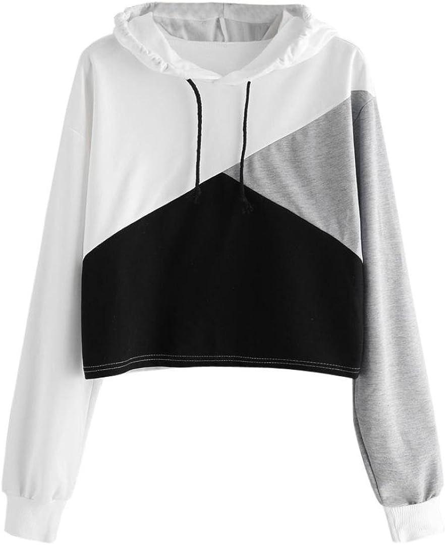 TOPUNDER Womens Long Sleeve Hoodie Blouse Sweatshirt Jumper Hooded Pullover Tops