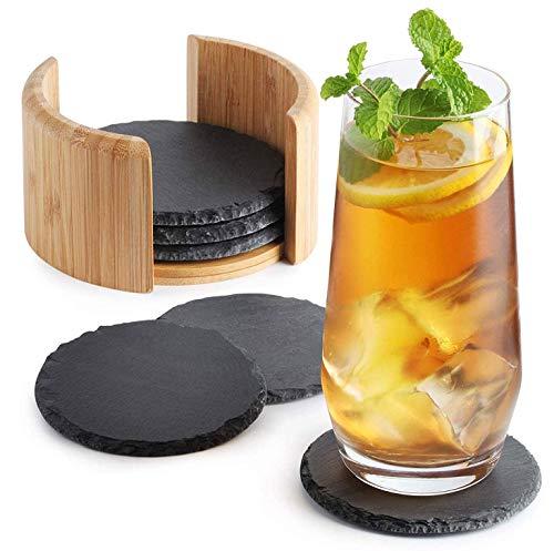 Sidorenko Desous de verre en ardoise rond pour verres - lot de 6, Boîte incl. - Sous verre design en verre gris foncé pour boissons, tasses, bar, verre - Sous-verre de table Premium en ardoise