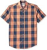 Amazon Essentials Men's Regular-Fit Short-Sleeve Check Casual Poplin Shirt, Blue/Orange Buffalo, X-Large