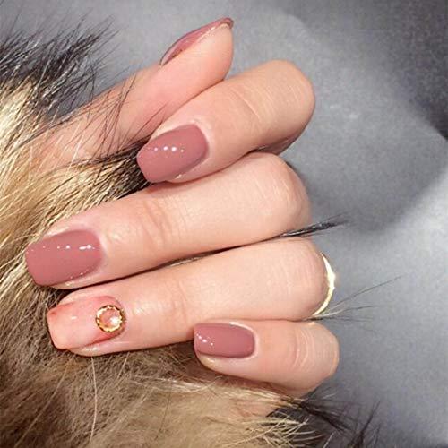 Handcess 24 Stk. Falsche Nägel Rosa Nude Marmor Glitter Gel Natürliche Short Square Nails Full Cover Salon Nägel Kunst für Frauen