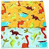 FUYA 2 piezas de tela de algodón de dinosaurios, 160 x 100 cm, hecha a mano, para costura, ropa de bebé y niños, color amarillo
