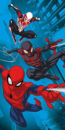 Spiderman, telo mare ufficiale Marvel, motivo Spiderverse, asciugamano super morbido, perfetto per nuoto, spiaggia o bagno, multicolore, 140 x 70 cm