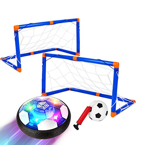 Kids Toys Hover Soccer Ball Set with 2 Goals, Rechargeable LED Air Soccer, Indoor Soccer Toys with Foam Bumper, Floating Football for 3,4,5,6 -14 Year Old Boys Girls, Including an Inflatable Ball