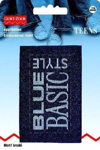 Motif jeanslab. rectangle sty basic blue bleu
