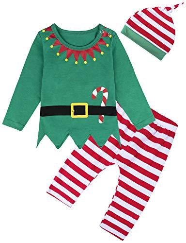 MOMBEBE COSLAND Disfraz Duende de Navidad Bebé Niños Conjuntos (6-12 Meses, Verde)