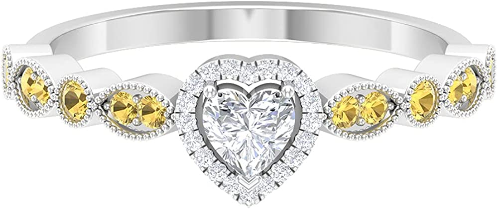 1 67% OFF of fixed price 2 CT Heart Shape Diamond Side Anniversary Ring St with OFFicial site Citrine