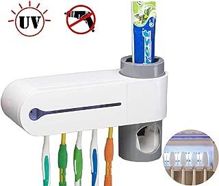Sooyee UV Toothbrush Holder, 5 Toothbrush Sterilizer Holder Automatic Toothpaste Dispenser Set,Ultraviolet Light Sterilization Function, Best for Women Kids Baby Bathroom
