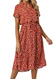 Derssity Women's Summer Dresses Vintage Style Shirt Dress Button Down V Neck Midi Dress Short Sleeve Orange Red