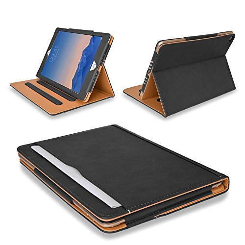 MOFRED Black & Tan Apple iPad Air 2 (Launched 2014) Executive Leather Case-Voted by 'The Daily Telegraph' as #1 iPad Case! (For iPad Models A1566,A1567)