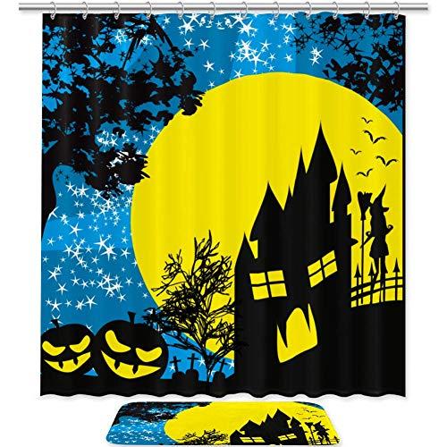 Juego de 2 alfombrillas de baño de microfibra antideslizante con cortina de ducha de tela, para Halloween, casa encantada de calabazas, bruja, juego de 2 unidades, lavable a máquina