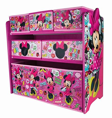 Disney Minnie Mouse Kinderregal aus Holz mit 6 Aufbewahrungsboxen Spielzeugaufbewahrung Kinderzimmer