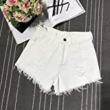 FENGLINZEKANG Damen Denim Shorts Sexy Loch Quaste Hohe Taille Jeans Shorts for Club -