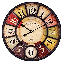 Large Wall Clock, European Vintage Clock with Arabic Numerals, Indoor Silent Battery Operated Wood Clock for Home, Living Room, Bedroom, Kitchen and Den Decor, East to Read - 24 Inch, Paris