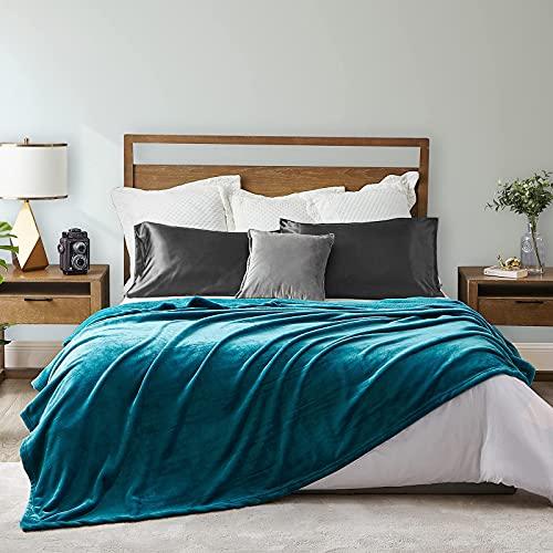 EHEYCIGA Manta Sofa Mantas para Cama Verde Azulado 240x220cm Microfibra Suave Acogedora Manta de Lujo para La Cama
