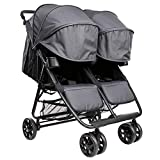 The Twin+ (Zoe XL2) - Best Double Stroller - Everyday Twin Stroller with Umbrella - UPF 50+ - Tandem Capable (Classic, Noah Grey)