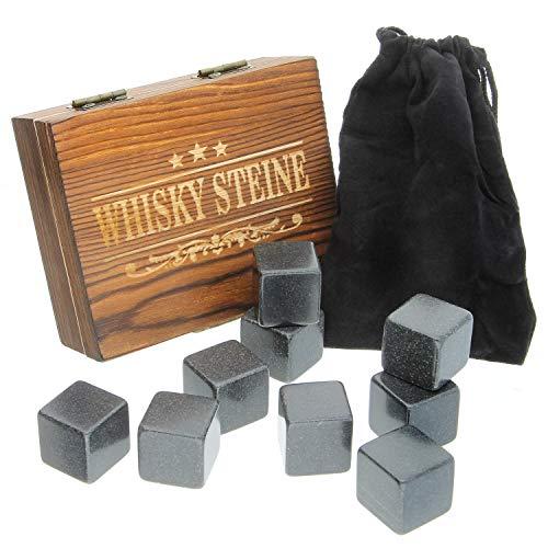 FORYOU24 Whiskey Kühlsteine Speckstein Eiswürfel Set I 9 Whisky Rocks wiederverwendbar mit Stoffbeutel in schicker Holz Geschenkbox I Kühlwürfel Getränke Whiskyliebhaber