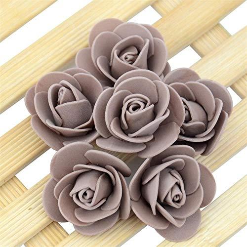 500 stks 3.5 cm kunstmatige schuim rozenkoppen bloem voor diy krans thuis bruiloft decoratie goedkope nep bloem handgemaakte accessoires, koffie