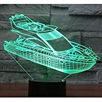 YANGK 3D LEDナイトライトシップヨット7色ライト子供のおもちゃ、ベビールームライト、家族の装飾の雰囲気ライト、男の子と女の子の休日の誕生日プレゼント