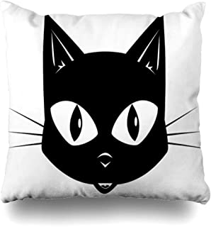 ArTmall Throw Pillow Case Wildlife Head Black Cat Face for Mask Drawing Kitten Domestic Design Feline Zippered Pillowcase Square Size 20 x 20 Inches Home Decor Cushion Covers