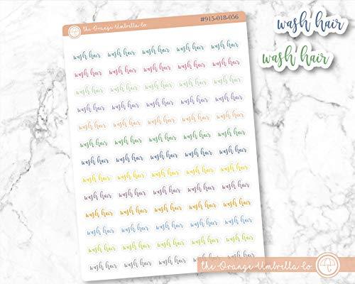 Wash Hair Label Planner Stickers, Script'Wash Hair' Labels, ECLP Colored Planner Stickers (#915-018-056-WH)