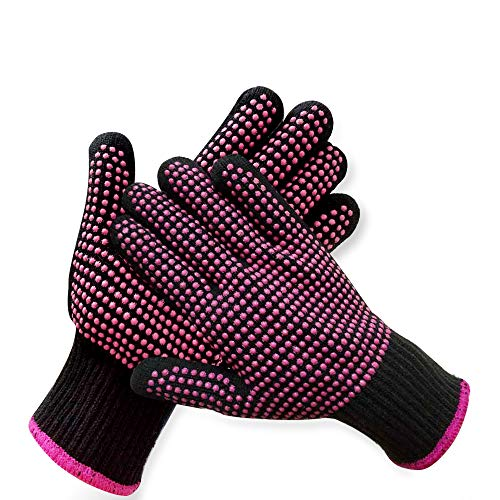 2 Pcs Professional Heat Resistant Glove for Hair Styling Heat Blocking Gloves for Curling, Flat Iron...