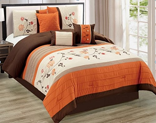 Modern 7 Piece QUEEN Floral Embroidered Bedding Orange / Brown / Beige Stripe Comforter Set with accent pillows