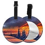 Etiquetas para Equipaje Bolso ID Tag Viaje Bolso De La Maleta Identifier Las Etiquetas Maletas Viaje Luggage ID Tag para Maletas Equipaje Puesta de Sol de Invierno