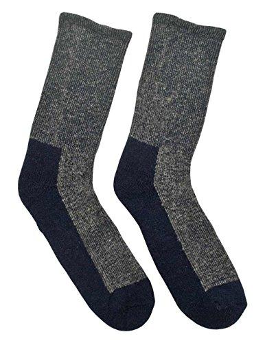 Duray 866 Paire de chaussettes universelles en laine mérinos pour homme Gris et bleu marine Semelle rembourrée Taille 38-45