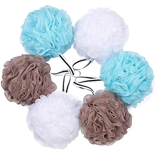 Bath Shower Loofah Sponge Pouf Body Scrubber Exfoliator Set of 6