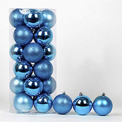 LIUSHI 24ct Christmas Ball Ornaments Shatterproof Christmas Decorations Tree Balls Small for Holiday Wedding Party Decoration-Lake Blue 8cm(3inch)