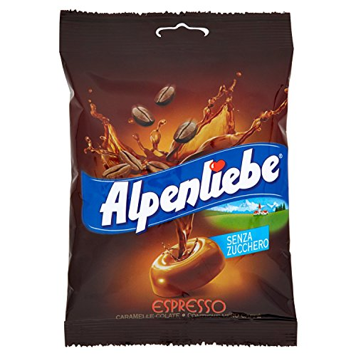 Alpenliebe Caffè Caramelle Senza Zucchero Dure Gusto Espresso, Caramella Colata Al Caffè, Confezione Da 9 Buste Da 96 Gr, Senza Glutine