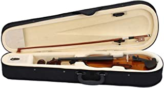 Blacgic Retro Violin Case New 1/2 Acoustic Bow Rosin Natural Wood Hard Case for Protect Violin