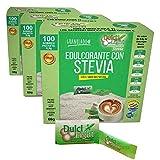 EDULCORANTE STEVIA DULCILIGHT 300 Sobres, Natural Granulado,con Dispensador y Fibra Vegetal|1GR = 10GR azúcar|EL Sabor, la textura y el Sonajero del azúcar LIBRE de calorías