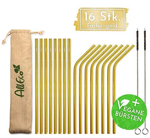 AllEco Edelstahl Strohhalm Gold wiederverwendbar 16er Set bunt farbig + 2 Reinigungsbürsten + Eco-Beutel - Metall Trinkhalme Rosegold, schwarz, blau, lila, Regenbogen