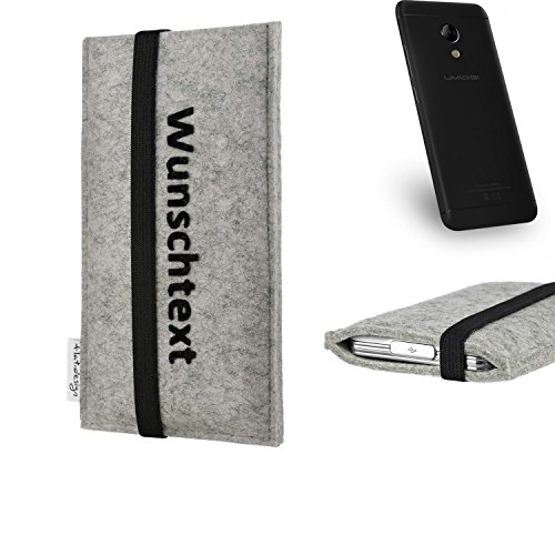 flat.design Handy Hülle Coimbra für UMIDIGI C2 maßgeschneiderte Handytasche Filz Tasche Case schwarz grau