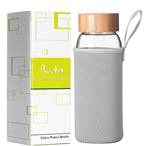 Reeho Tragbare 700ml Trinkflasche aus Glas, BPA-Frei Wasserflasche Glas, Borosilikat Glasflasche mit Nylon Tasche (Grau, 700ml)