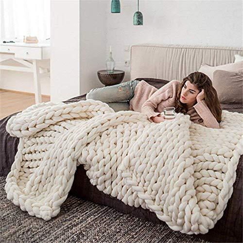 GLITZFAS Große Strickdecke, Gestrickte Decke Strickgarn handgewebte Decke für Haustier Bett Stuhl Sofa