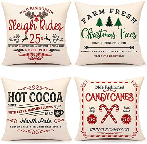 BONRI Farmhouse Christmas Pillow Covers Set of 4 Winter Holiday Decorations Xmas Rustic Throw Cushion Case for Sofa Couch Home Decor (Sleigh Rides, Farm Fresh Tree, Cocoa, Candy Canes),16''×16''