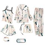 VONKY 7pcs Set Camisón Kit Impreso Ropa de Noche con el Desgaste del Chaleco Cortocircuitos Mujer Pijamas Set Señora de Inicio, XL