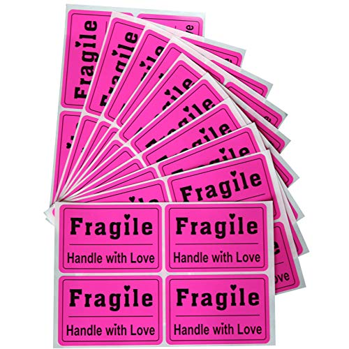Dark Pink Fragile Stickers, MeshaKippa 200pcs 2x3