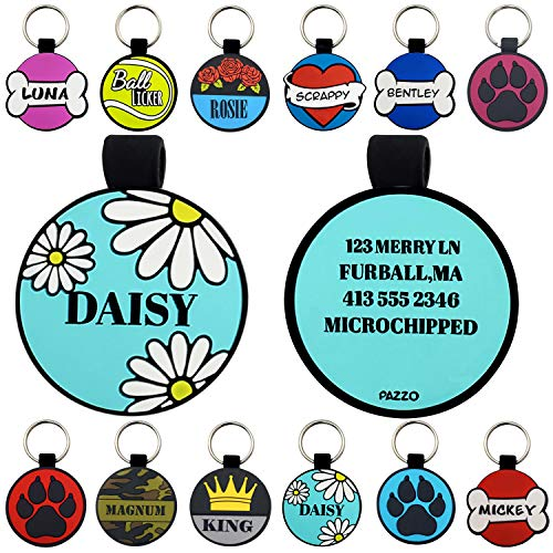 Pazzo Pet Tags Silent Silicone Dog ID's Custom Deep Engraved Unique Personalized Identification Tag (Daisy)