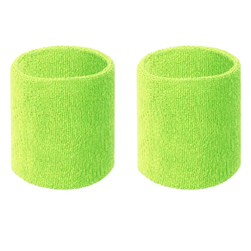 Happywendy Colorful Cotton Sport Wristbands for Men and Women - 3' Athletic Terry Cloth Sweatbands in Neon Colors - Wrist Sweat Bands for Tennis, Basketball, Running, Gym (1 Pair) (Yellow Green)