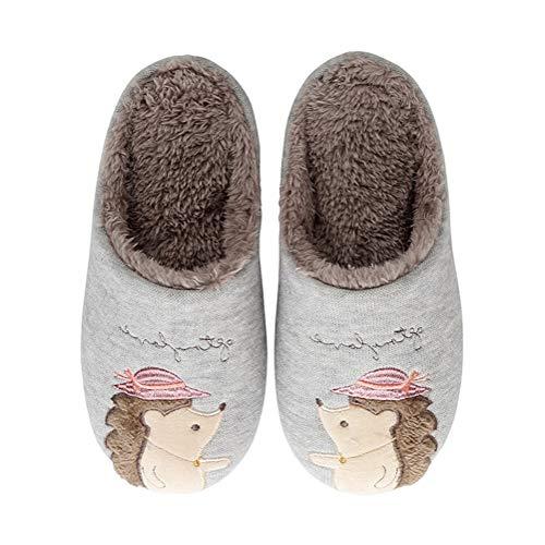 Tomwell Kuschelige Hausschuhe Damen Herren Plüsch Igel Wärme Pantoffeln Weiche Home Antirutsch Winter Indoor Slippers E Grau 36/37 EU