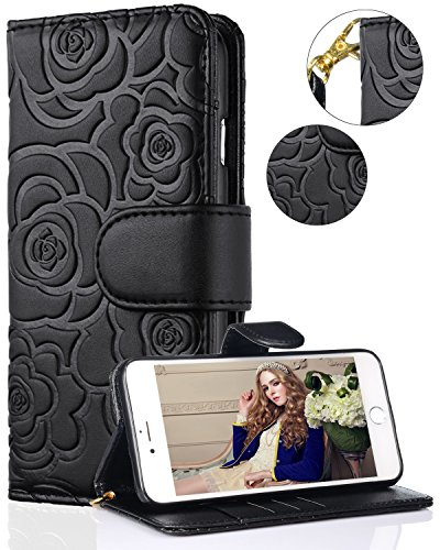 FLYEE iPhone 8 Plus Case,iPhone 7 Plus Wallet Case, Premium Flip Wallet Leather [Emboss Flower] Magnetic Protective Cover with Card Slots for iPhone7 Plus iPhone8 Plus 5.5 Inch yahuacha-Black