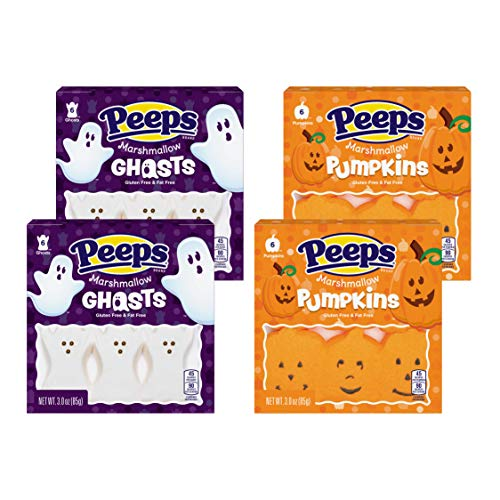 Halloween Peeps Marshmallow Candy Bulk Variety 4 Pack Ghosts and Pumpkins - 2 Ghosts and 2 Pumpkins