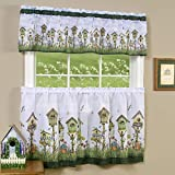 PowerSellerUSA 3-Piece Window Kitchen Curtain Set, Printed Designs, Tier Pair Panels and Valance, Assorted Designs - 58' (W) x 36' (L), Birdhouses