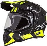 O'NEAL | Casco de Motocicleta | Moto de Enduro | Carcasa ABS, Visera Solar integrada | Peine de Casco Sierra | Adultos | Negro Amarillo Neón | Talla S (55/56 cm)