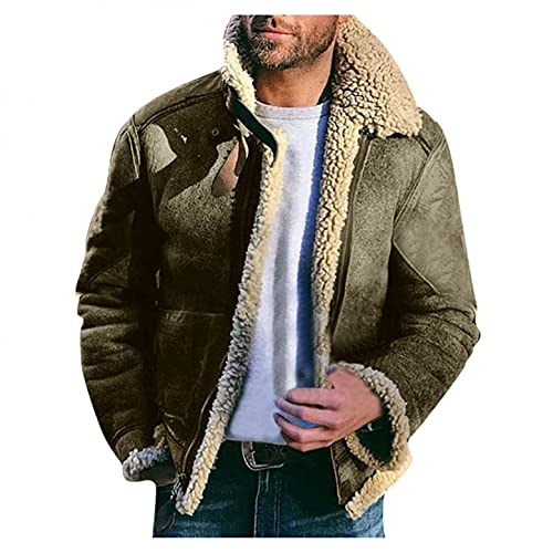 Stoota Mens Wool Cardigan Jackets, Turn-down Collar Casual Cotton Blend Peacoat Slim Fit Classic Winter Warm Trench Coat